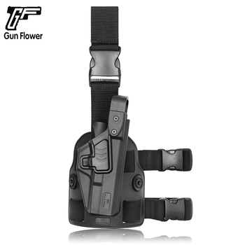 Gun&Flower Tactical Thigh Pistol Gun Leg Holster Military Tactical Gear Gun Holsters Firearm Leg Holster for Glock Sig Sauer