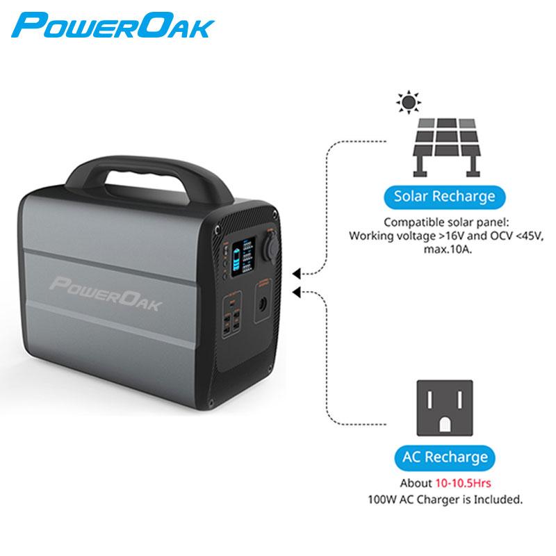 Poweroak, быстрая настройка, 600 Вт, светодиодное освещение, портативная электростанция с несколькими выходами на солнечных батареях на Вт