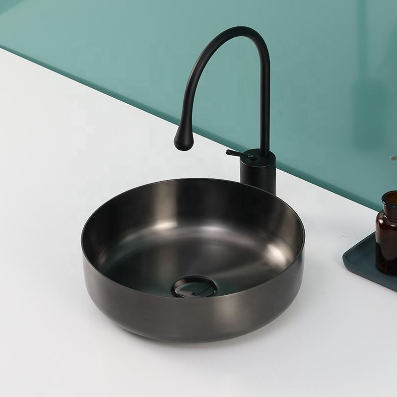 Super-minimalistic Bronze stainless steel Art Counter Washbasins for Bathroom