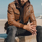 Brown Motorcycle With Removable Hooded For Men Leather Jacket