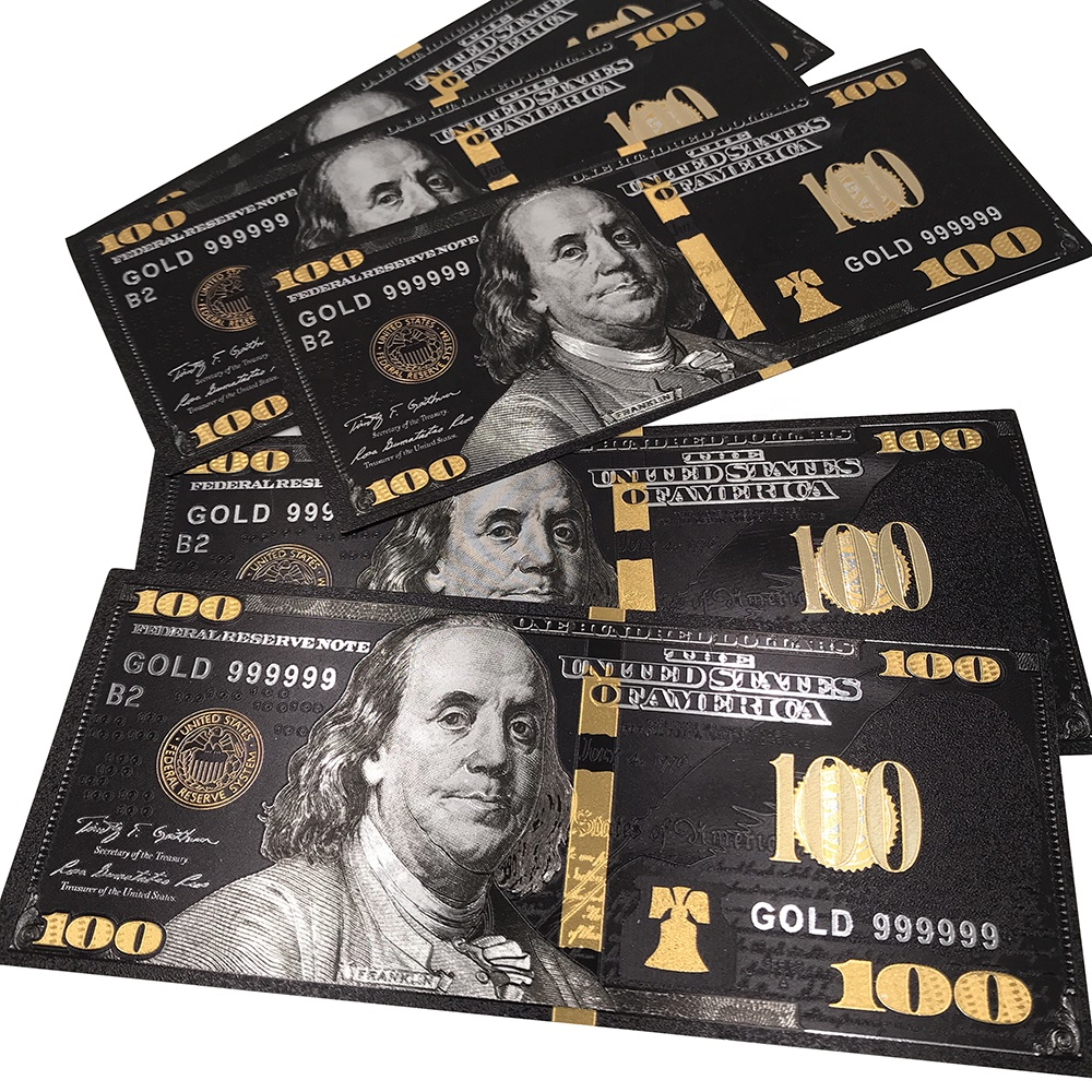 Black and gold 100 dollar bill Gold Black USD 100 banknote New design for USA market