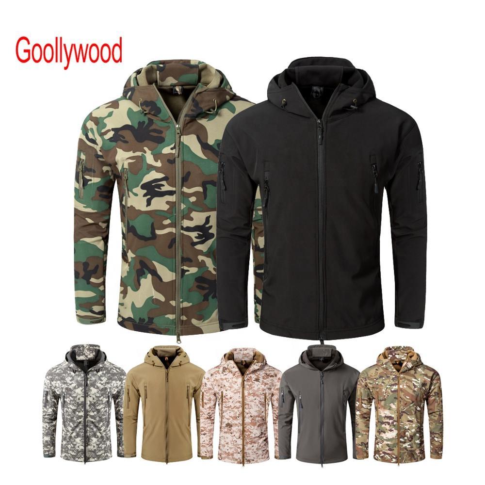 Men's Waterproof Softshell Army Fans Military Jacket Tactical Jacket Camouflage Combat Hoody Coat Winter Fleece Jacket