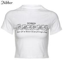 Женский короткий топ Nibber, белая Повседневная футболка с принтом в стиле Харадзюку, лето 2020(Китай)