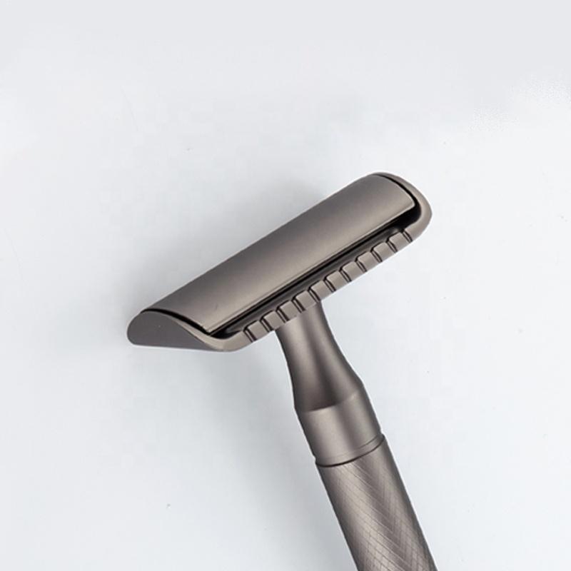 Мужская Безопасная бритва с прямыми лезвиями, латунная бритва из нержавеющей стали с двойным краем