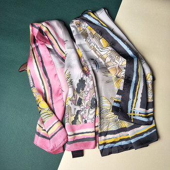 New Satin Scarf Gift 90cm Printed Silk Scarf Large Brand Scarf Wedding Return Support Customization