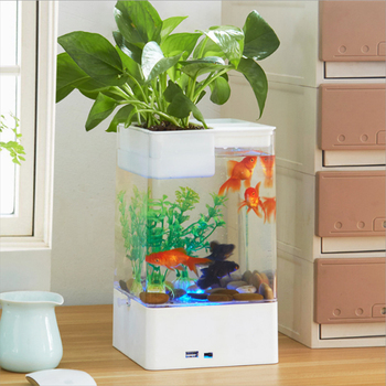 Mini Desktop USB Aquarium Fish Tank Fun Mini Desktop Self-Cleaning Lazy Fish Tank