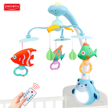 Fish shape projection remote control baby educational toy recordable music toy mobile bed bell baby