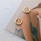 High End 18K Gold Plated Twisted Brass Hoop Earring Gold Jewelry Wholesale