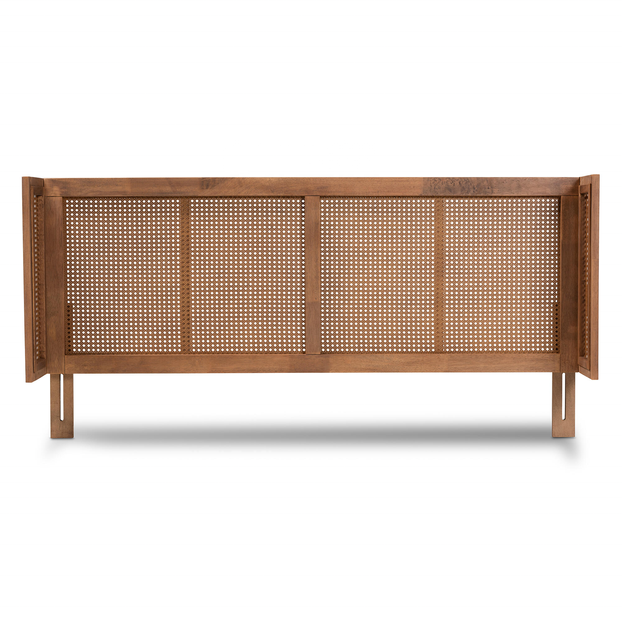 Vintage French Style Natural Rattan Cane Wooden Headboard