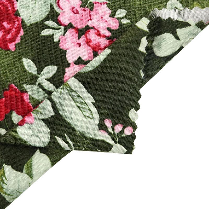 Factory wholesalle custom design modal95 spandex 5 satin dress print flower print fabric for women clothing