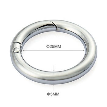 Nickel Plated Metal Snap Clip Hook, Custom Round Metal Spring O Ring for Bag