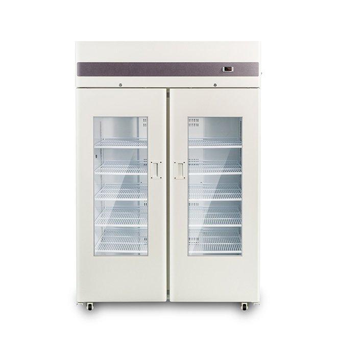 + 4C 1100L Вертикальный двойной стеклянный дверной холодильник для банк крови, больничный холодильник для крови, медицинский холодильник для крови