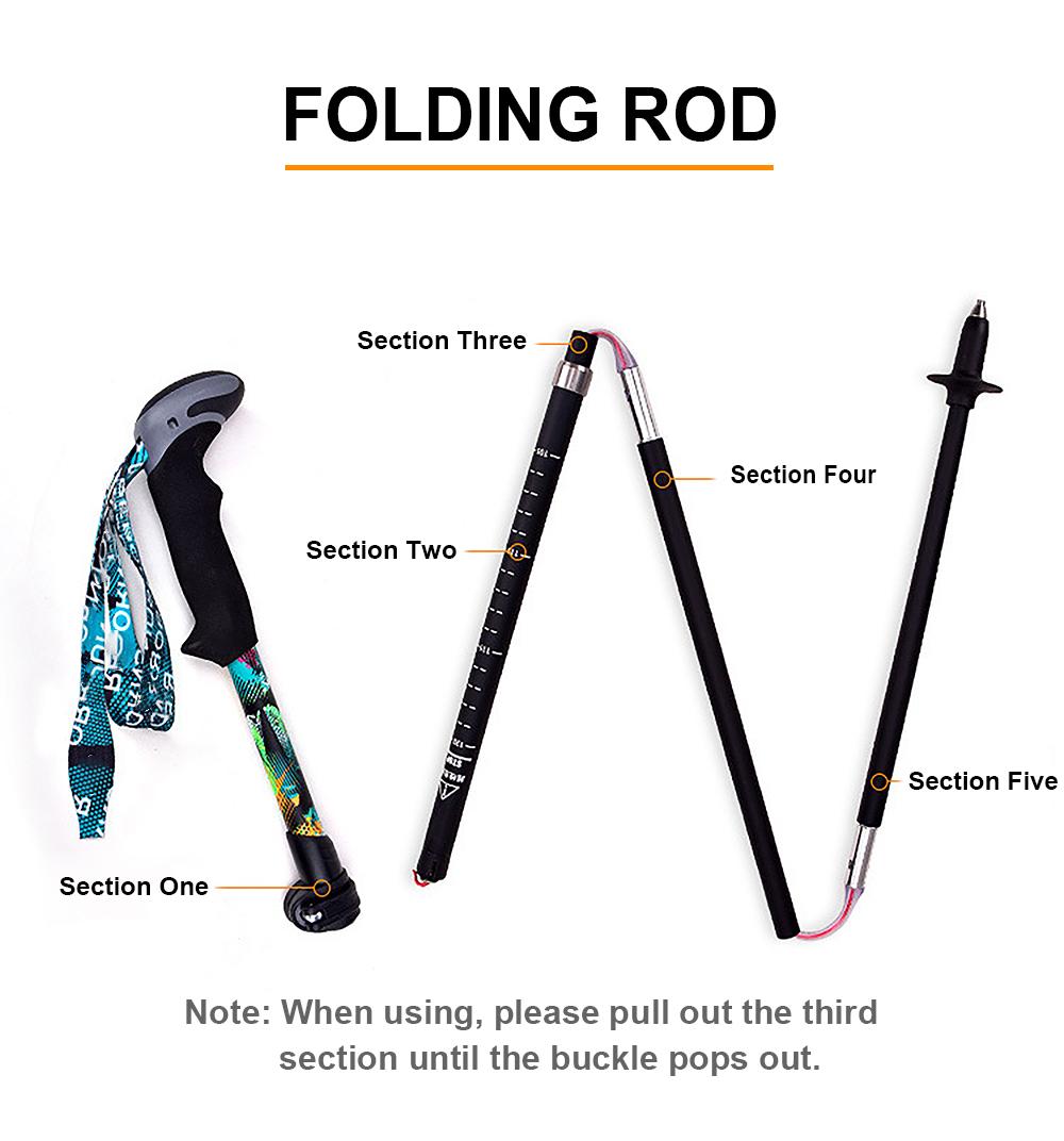 Ultra-light and ultra-short telescopic carbon fiber folding outdoor trekking poles