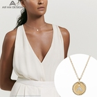 925 Silver Silver Fashion Gold Plated 925 Sterling Silver Letter Coin Pendant Necklace 14k Gold Jewelry Wholesale For Women