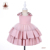 2020 Summer OEM Children Clothes Kids Dress Pink Bridal Satin Party Baby Ball Gown Girls' Birthday Dresses With Bow On Shoulder