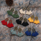 Bohemian Wind Vintage Handmade Cord Drop Long Tassel Earrings