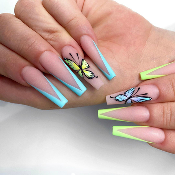 Senboma new French false nails with stiletto press on nails neon artificial nail arts