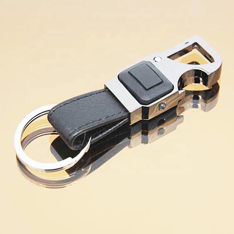 Multi features car Leather Keychain custom flashlight design metal keychain leather car keychain