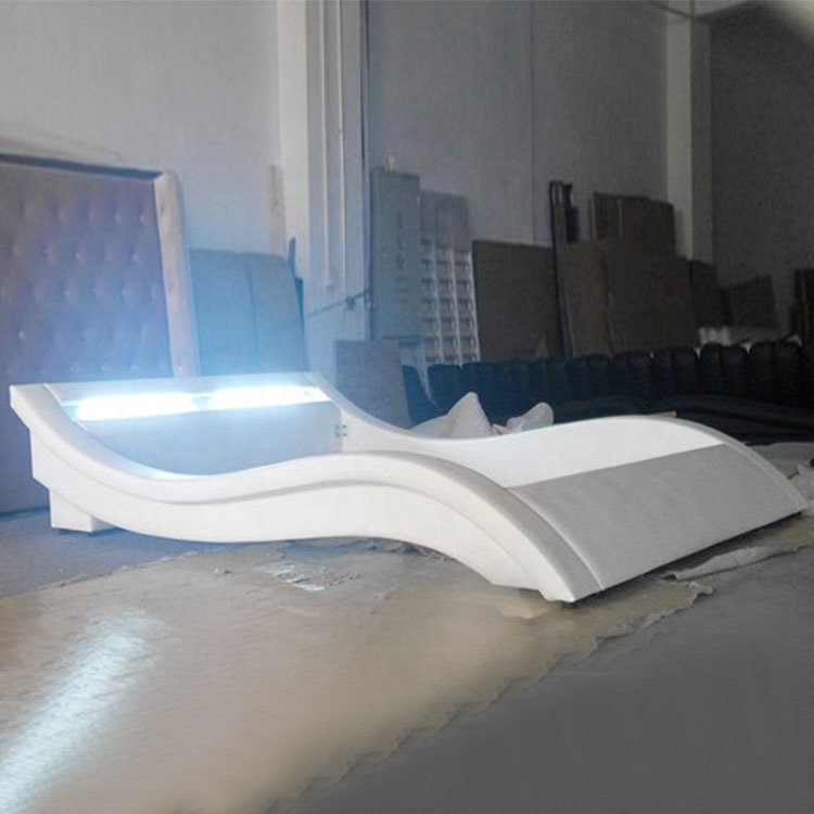 Wholesale hot sale modern curve white double bed headboard led light bed