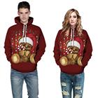 Red Christmas Bear Doll Printed Pullover Cool Hoodies All Over Digital Printing Hooded Sweatshirts