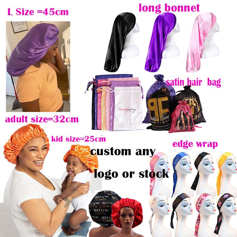 Custom Adult And Baby Silk Hair Designer Logo Silk Night Bonnrt Hat Satin Boonet