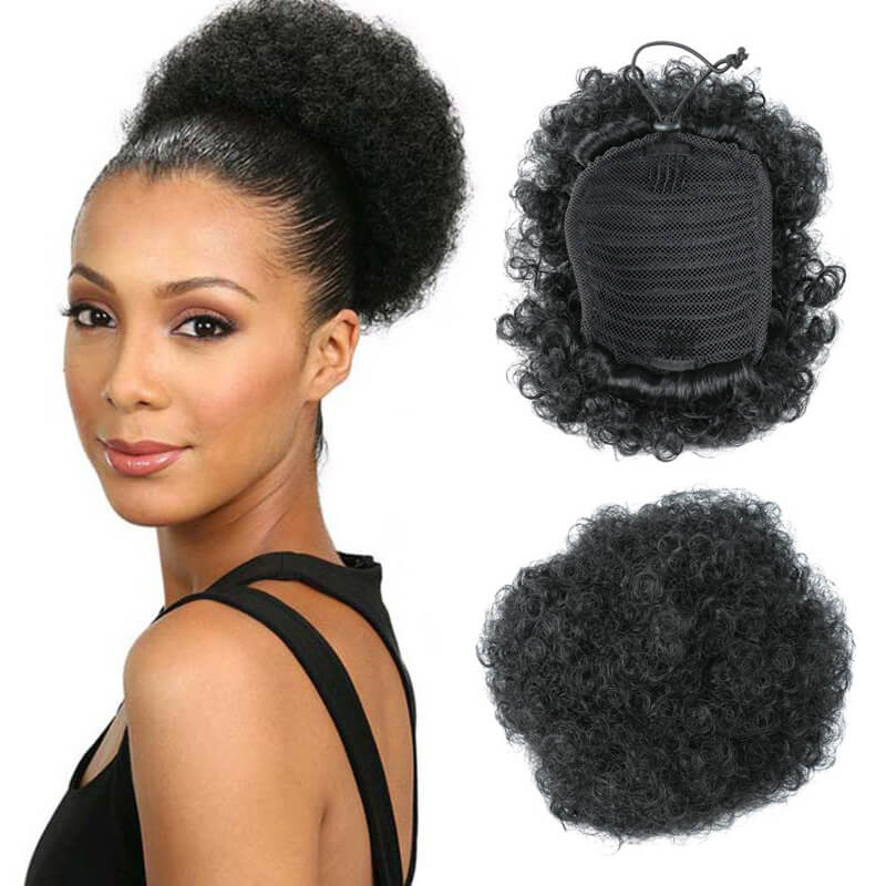 Cheap Afro Hair Bun Kinky Curly Chignon Synthetic Afro Puff Drawstring Chignon Ponytail