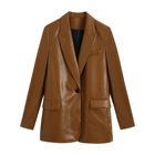 Vintage design brown color single button pu leather jacket women high fashion casual blazer
