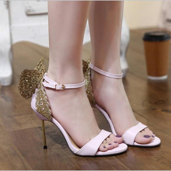 Fashion sexy stiletto buckle strap rhinestone butterfly high heel sandals