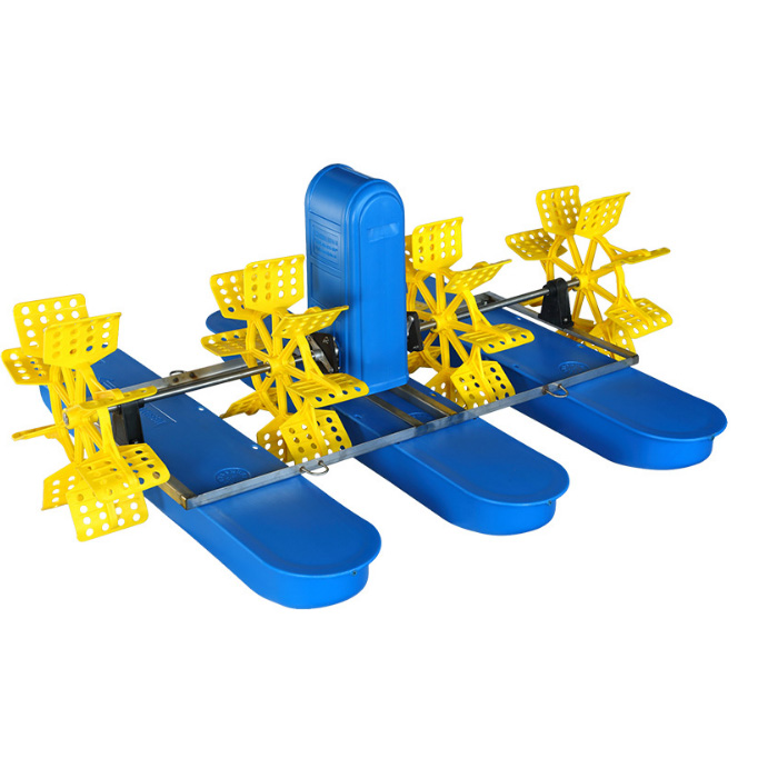 High efficiency solar powered fish pond paddle wheel aerator