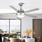 Stainless Led Light Equipped Led Fan 2021 New Modern Stainless Steel Wooden Fan Blades Ceiling Fan With LED Light And Remote Control 110V 220V