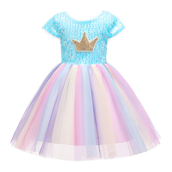 New Summer Fashion Colorful Rainbow Lace Children Bridesmaid Elegant Dress Girls Clothes Wedding Frock For Girls Party Dress