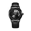 Black case, black dial, black leather, black hands and index