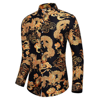 2021 long - sleeved shirt with dragon print spring autumn stylish shirt for men