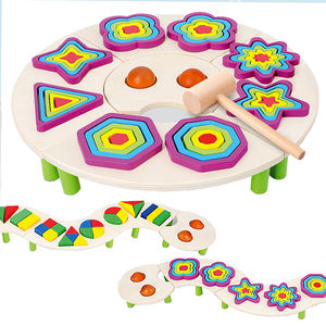 Montessori Shape Cognition Wooden Blocks Toy Multifunction Kids 5 in 1 Early Educational Multicolor Geometric Puzzle Toy