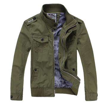 Fashion style men's slim fit washed cotton army green military casual jacket for men
