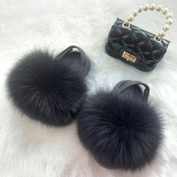 Wholesale Full Raccoon Faux Fox Fur Slippers Slides With Purse Set For kid