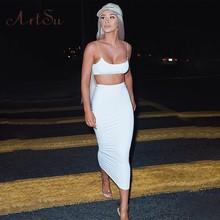 Artsu, сексуальное облегающее платье на бретелях, комплекты из двух частей, комплект с юбкой, белый укороченный топ, Клубная одежда, Женский по...(Китай)