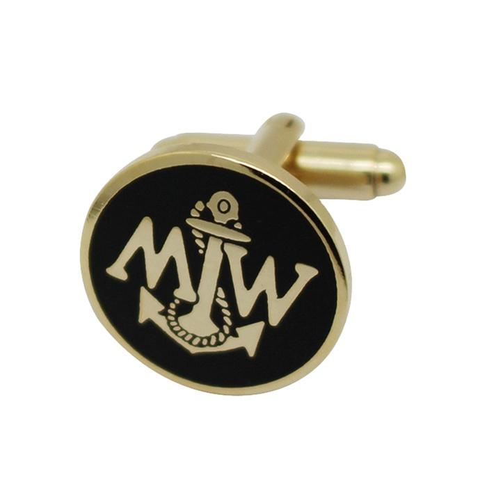 Custom Logo Metal Cuff links with Soft Enamel Diamond Engraved Cufflinks