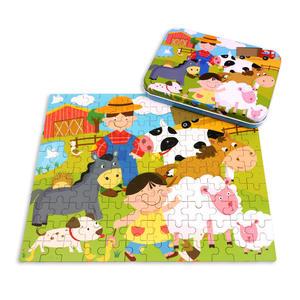 Interesting Scenes 120pcs Cartoon Animals Educational Toy Kids Iron Box Custom Intelligent Wooden Puzzle