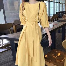 Платье женское, повседневное, простое, с О-образным вырезом и полурукавами(Китай)