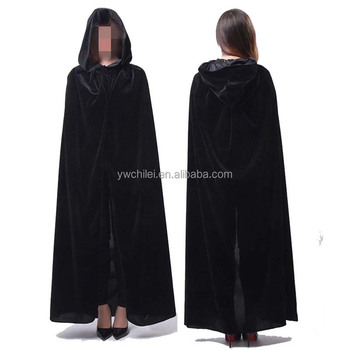 Hooded Cloak Long Velvet Cape