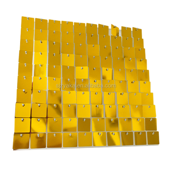 Square shape mirror gold color sequins Shimmer disc sequin panel
