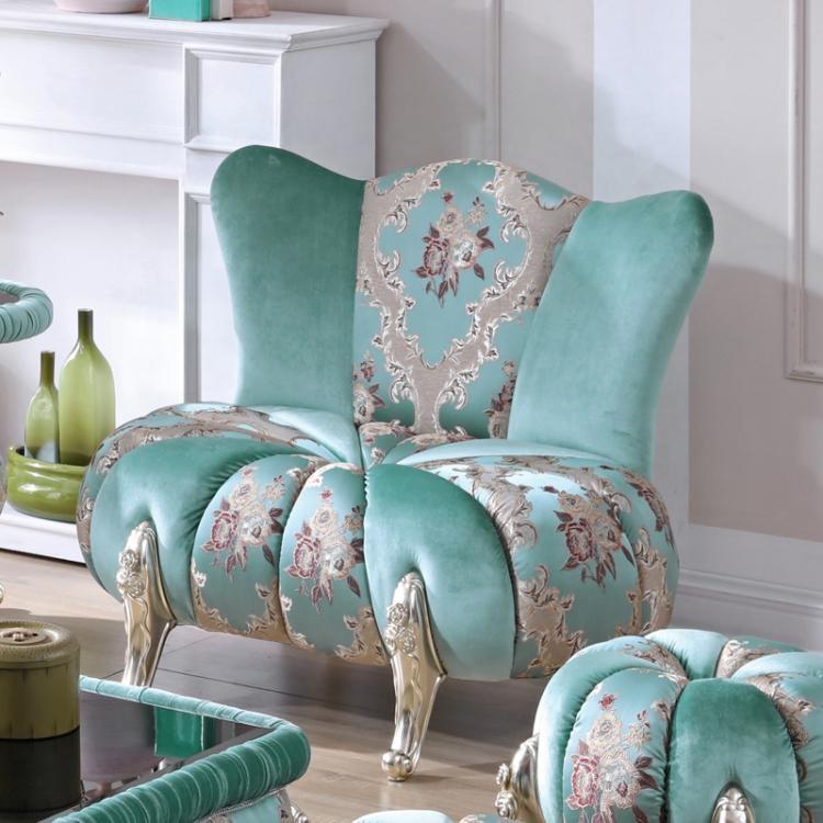 European classical living room furniture top grade green round sofa stool pumpkin sofa chair living room sofa set