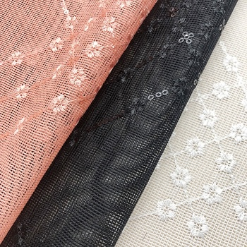 2020 garment knitted net white flower custom lace embroidered fabric