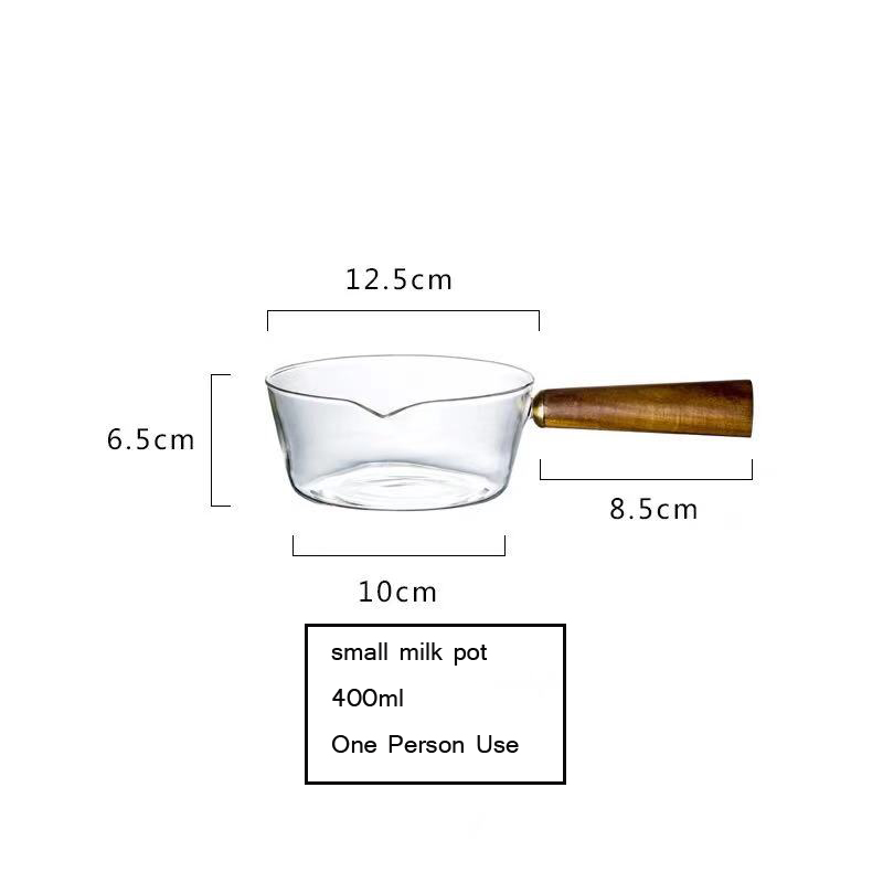 high borosilicate glass cooktop pan with wood handle for home kitchen