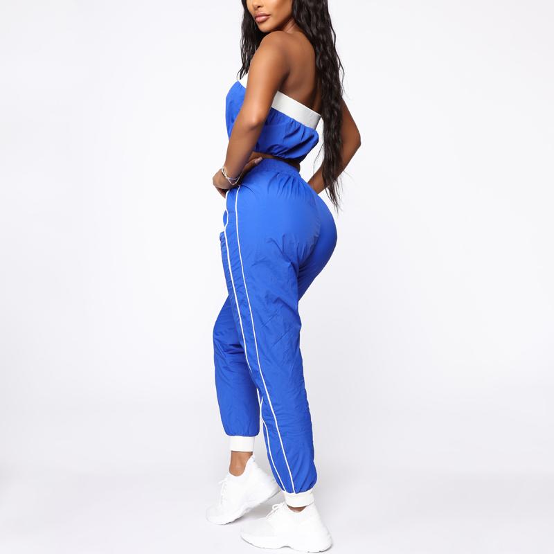 Лидер продаж, модные женские спортивные комплекты с укороченным топом и штанами для бега
