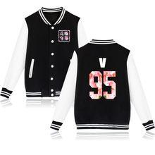 Kpop бейсбольная куртка для женщин Bangtan Boys альбом цветочный принт, вентиляторы буквы, поддерживающий спортивный свитер Harajuku спортивные костю...(China)