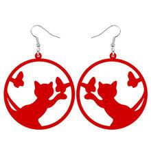 ARWA акриловые большие круглые полые серьги-подвески в форме капли с котом и бабочкой, украшения для женщин и девочек-подростков, очарователь...(Китай)