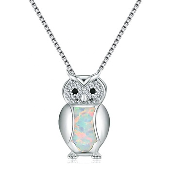 Fashion accessories white opal owl pendant 925 sterling silver necklace