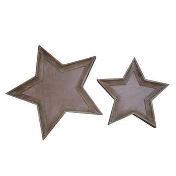 Wholesaler good price star shape cork tray set wood rustic small serving trays